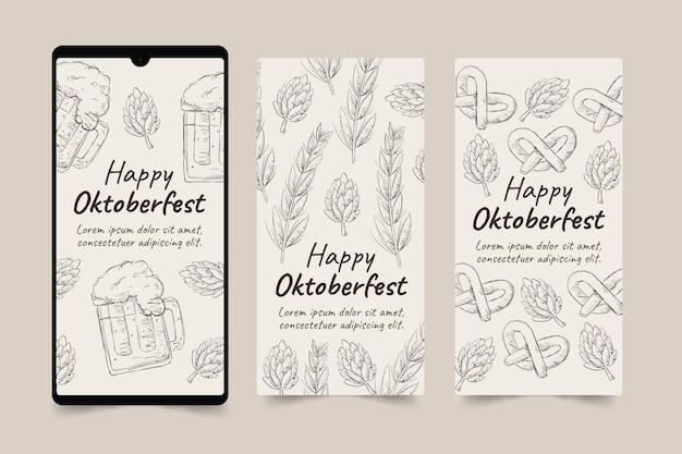 Handgetekende oktoberfest instagram verhalencollectie