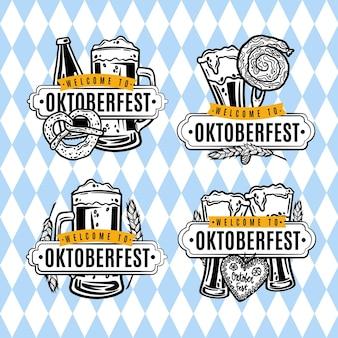Handgetekende oktoberfest-labelscollectie