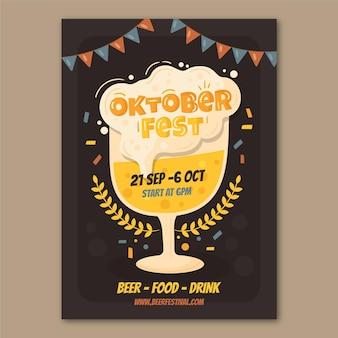 Handgetekende oktoberfest verticale postersjabloon