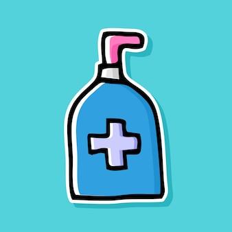 Handgetekende ontsmettingsfles cartoon ontwerp