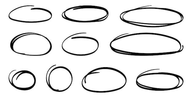 Handgetekende ovalen markeren cirkels set lijntekeningen