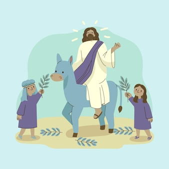 Handgetekende palmzondag illustratie met jezus en ezel