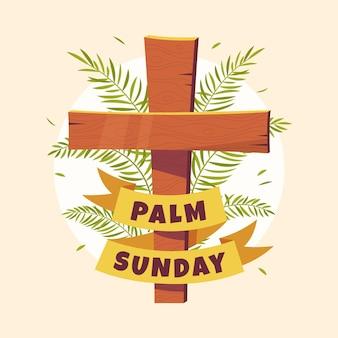 Handgetekende palmzondag illustratie met kruis