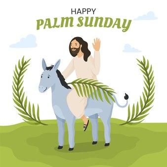 Handgetekende palmzondag illustratie