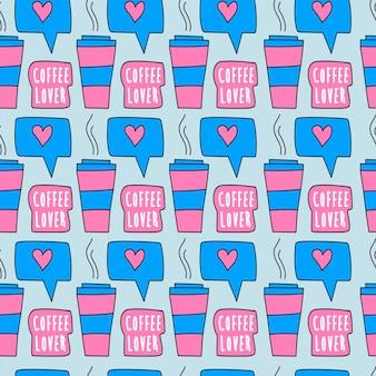Handgetekende papieren koffiekopje naadloze patroon kopje koffie en als teken