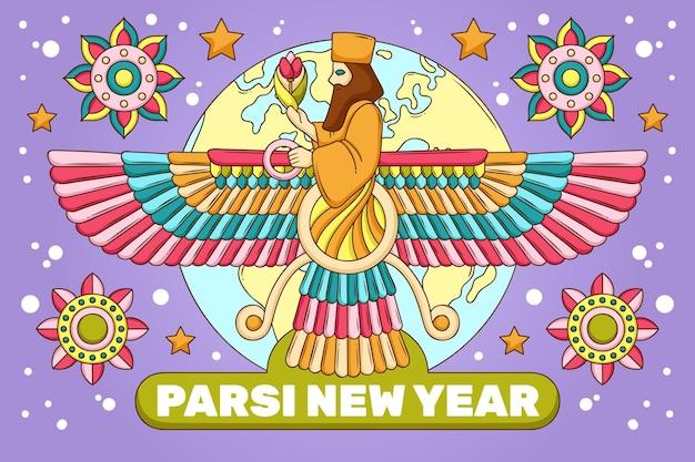 Handgetekende parsi nieuwjaarsillustratie