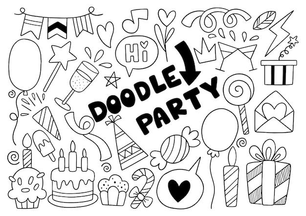 Handgetekende partij doodle gelukkige verjaardag ornamenten achtergrondpatroon vectorillustratie