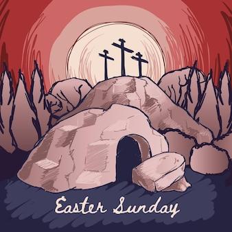 Handgetekende pasen-zondag illustratie met kruisen