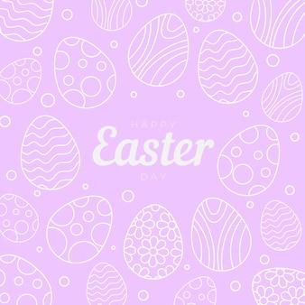 Handgetekende pastel zwart-wit pasen illustratie met eieren