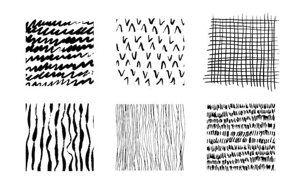 Handgetekende patronen instellen vectorillustratie