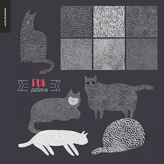 Handgetekende patronen met katten