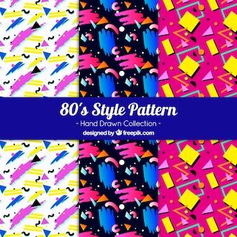 Handgetekende patronen met kleurrijke vormen