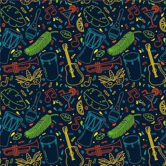 Handgetekende patroon concept voor braziliaans carnaval