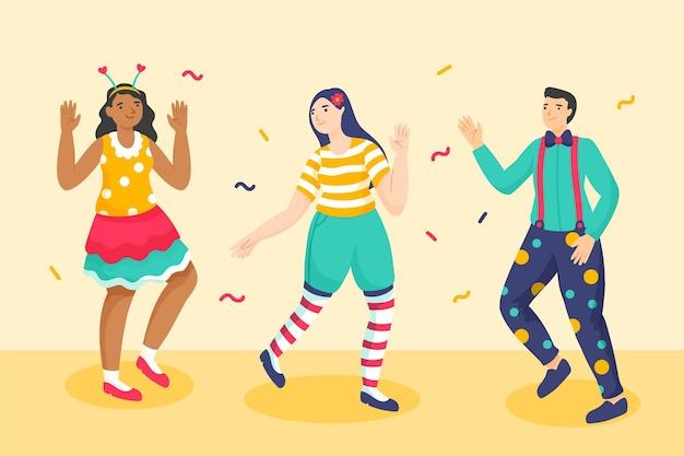 Handgetekende personages die carnavalskostuums dragen