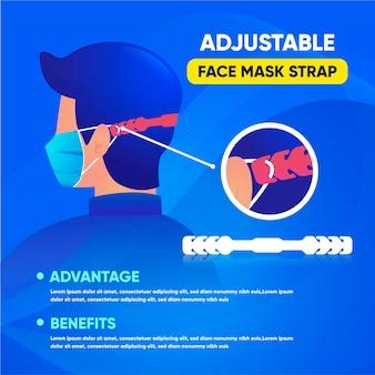 Handgetekende persoon die een verstelbare medische maskerriem draagt