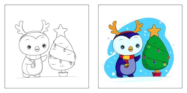 Handgetekende pinguin kerst kleurplaten premium vector