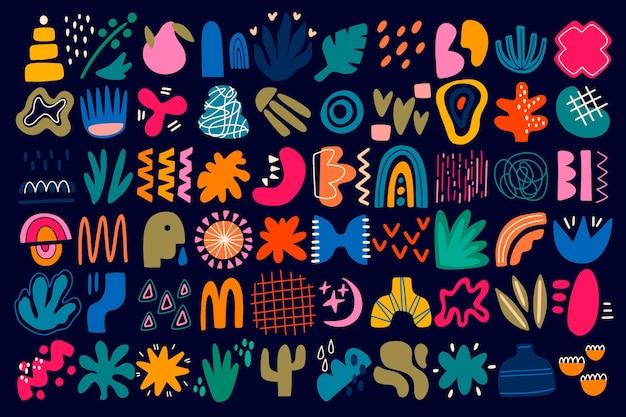Handgetekende platte abstracte vormcollectie