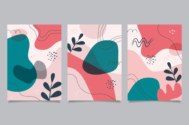 Handgetekende platte abstracte vormen dekt pack