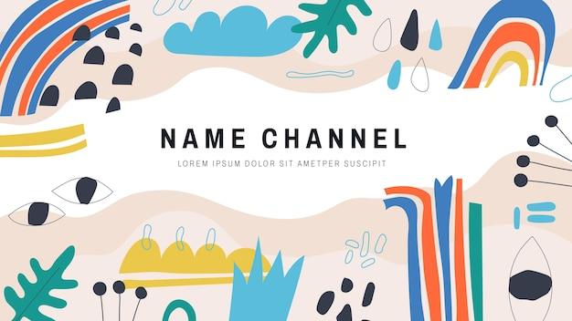 Handgetekende platte abstracte vormen youtube-kanaalkunst