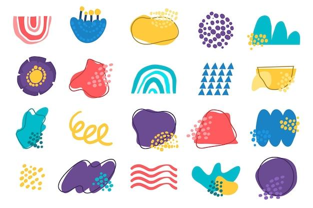 Handgetekende platte abstracte vormencollectie