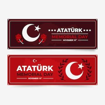 Handgetekende platte ataturk herdenkingsdag horizontale banners set