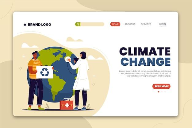 Handgetekende platte bestemmingspagina voor klimaatverandering