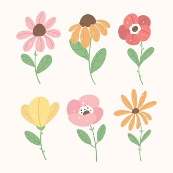 Handgetekende platte bloemencollectie