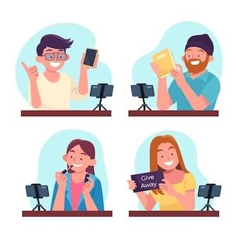 Handgetekende platte bloggers