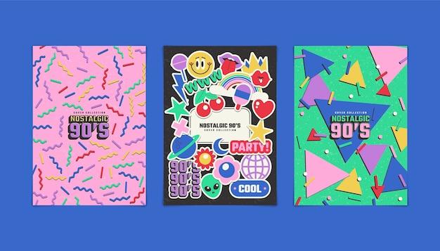 Handgetekende platte design nostalgische covers uit de jaren 90