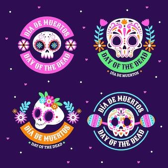 Handgetekende platte dia de muertos badges collectie