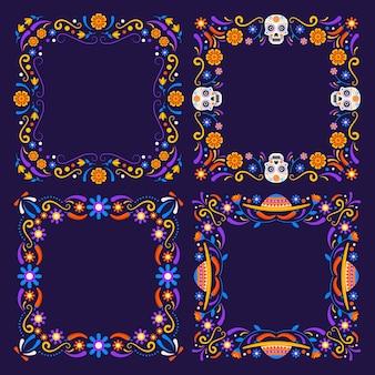 Handgetekende platte dia de muertos frames collectie
