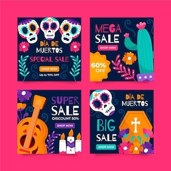 Handgetekende platte dia de muertos instagram verkoop berichten collectie