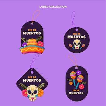 Handgetekende platte dia de muertos label en badges