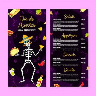 Handgetekende platte dia de muertos menusjabloon