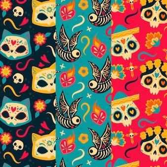 Handgetekende platte dia de muertos patronen collectie