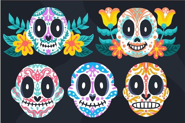 Handgetekende platte dia de muertos schedels collectie
