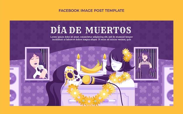 Handgetekende platte dia de muertos social media postsjabloon