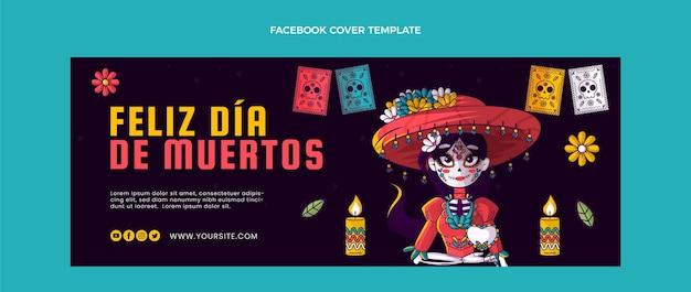 Handgetekende platte dia de muertos sociale media voorbladsjabloon