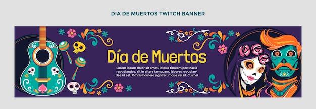 Handgetekende platte dia de muertos twitch banner