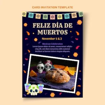 Handgetekende platte dia de muertos uitnodigingssjabloon