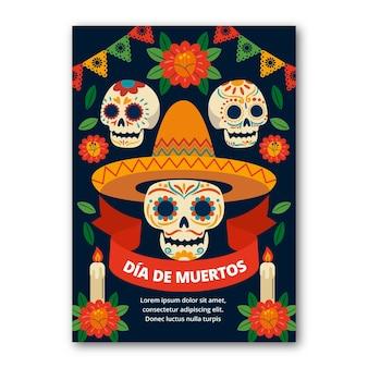 Handgetekende platte dia de muertos verticale postersjabloon