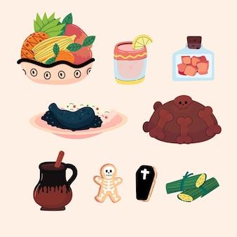Handgetekende platte dia de muertos voedselverzameling