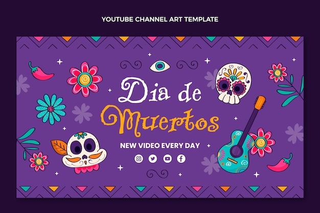 Handgetekende platte dia de muertos youtube-kanaalkunst