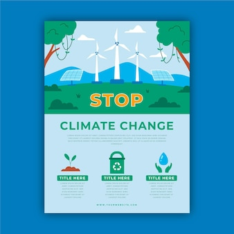 Handgetekende platte flyers over klimaatverandering