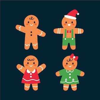 Handgetekende platte gingerbread man cookies collectie
