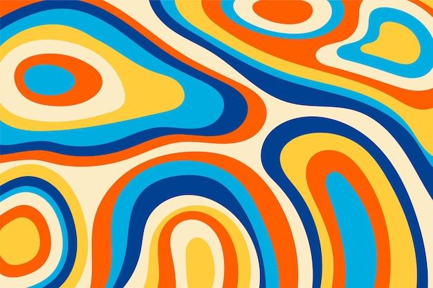 Handgetekende platte groovy psychedelische achtergrond