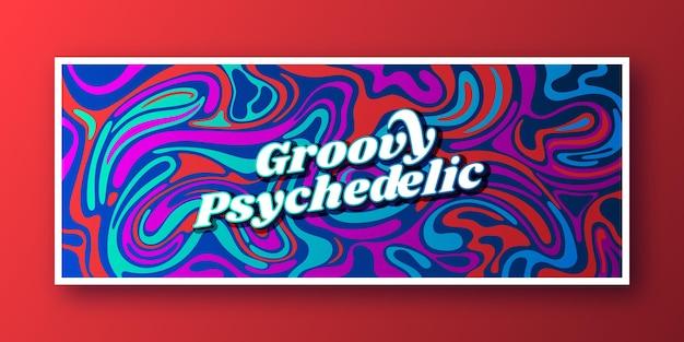 Handgetekende platte groovy psychedelische sociale media voorbladsjabloon