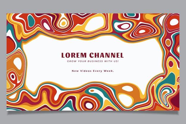 Handgetekende platte groovy psychedelische youtube-kanaalkunst