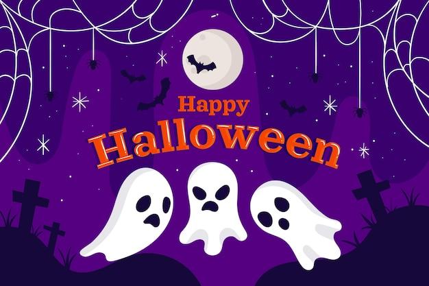 Handgetekende platte halloween-achtergrond