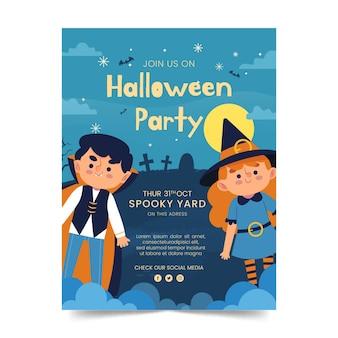 Handgetekende platte halloween-feestpostersjabloon